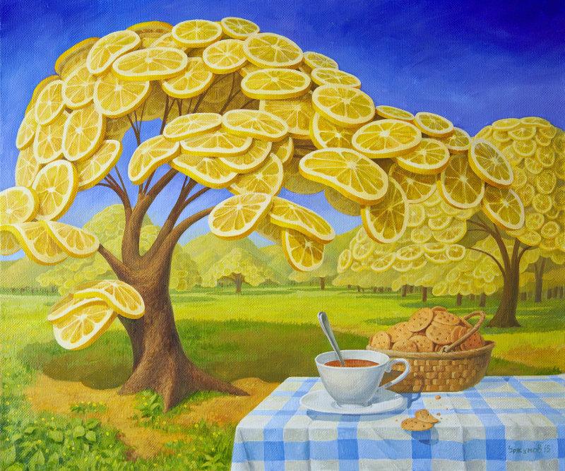 В лимонном саду пью чай с печеньем