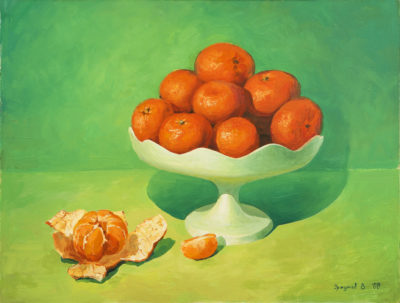 Green Still Life with Tangerines