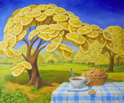 In the lemon garden I drink tea with biscuits