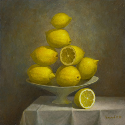 Still life with lemons in a vase