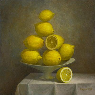 Натюрморт с лимонами в вазе